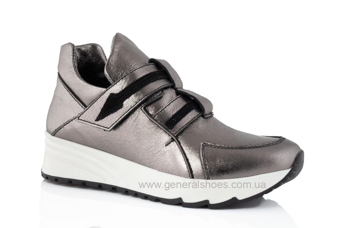 Женские кожаные кроссовки C2 бронза фото 1