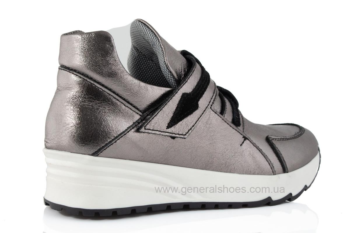 Женские кожаные кроссовки C2 бронза фото 3