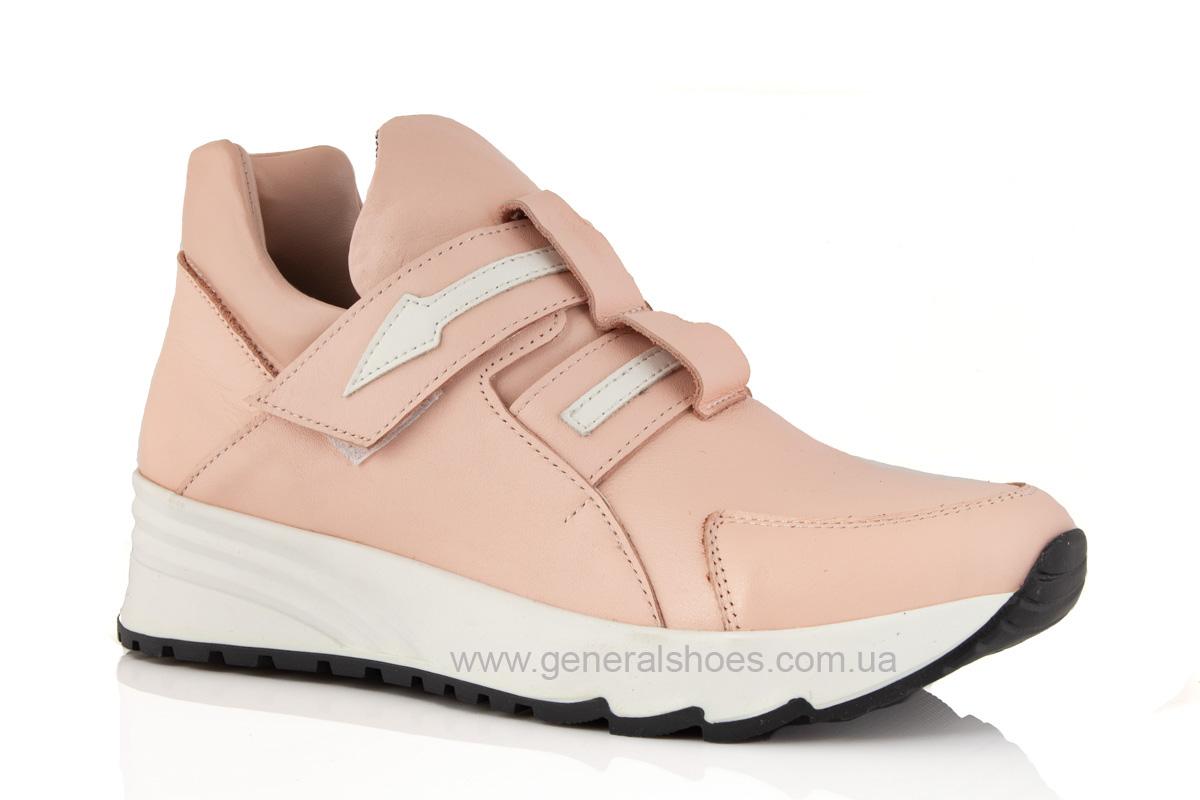 Женские кожаные кроссовки C2 пудра фото 1