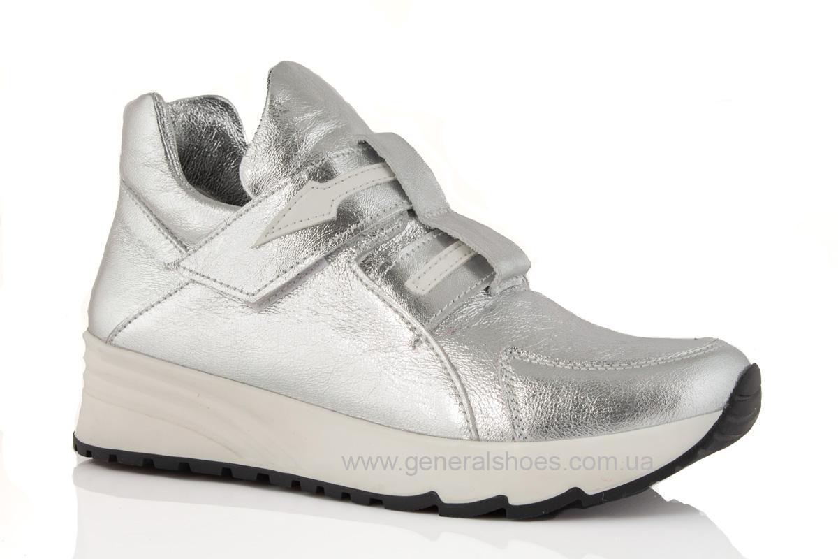 Женские кожаные кроссовки C2 серебро фото 1