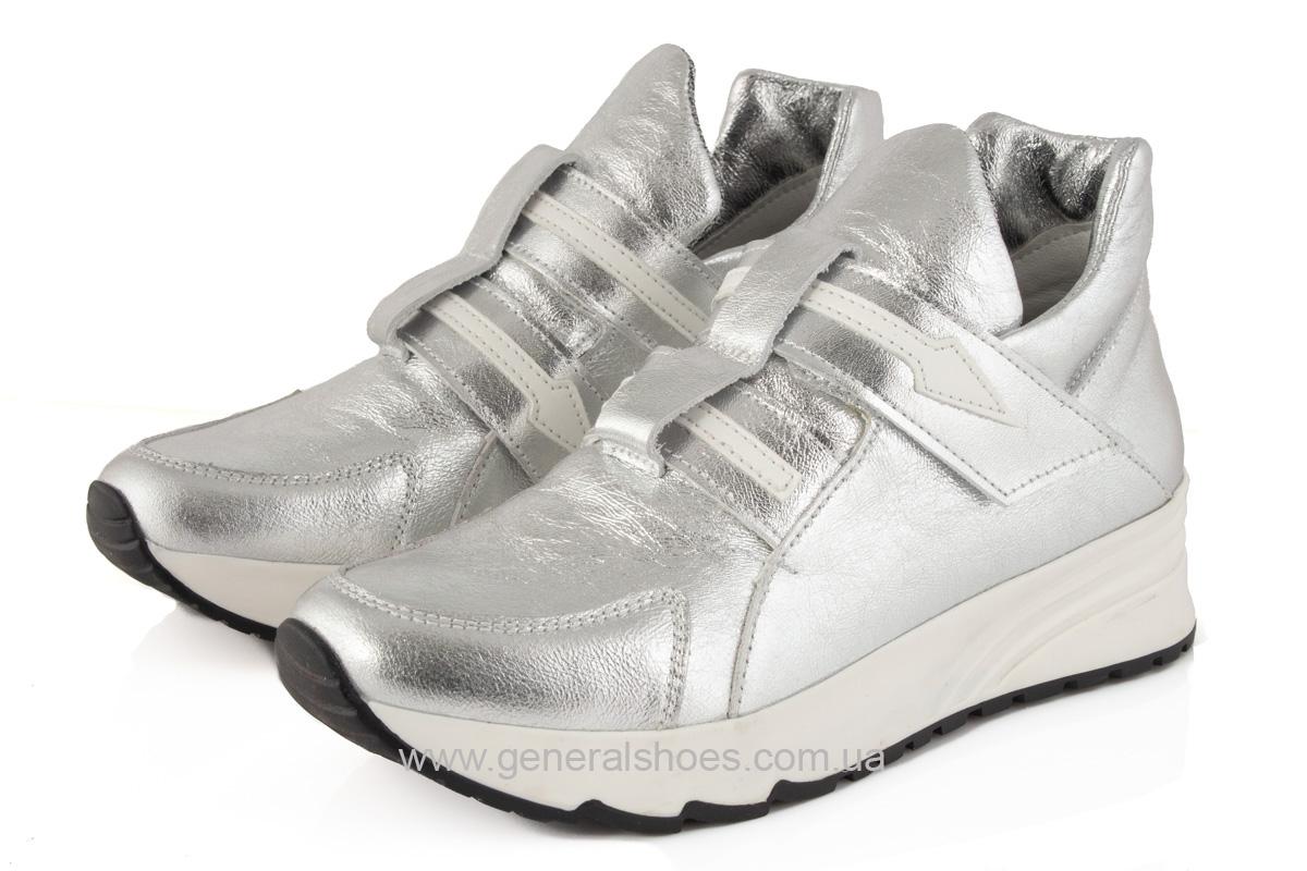 Женские кожаные кроссовки C2 серебро фото 2