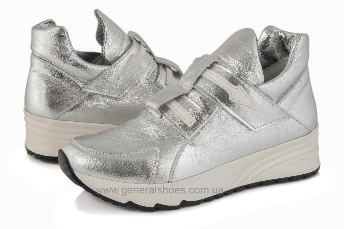 Женские кожаные кроссовки C2 серебро фото 3