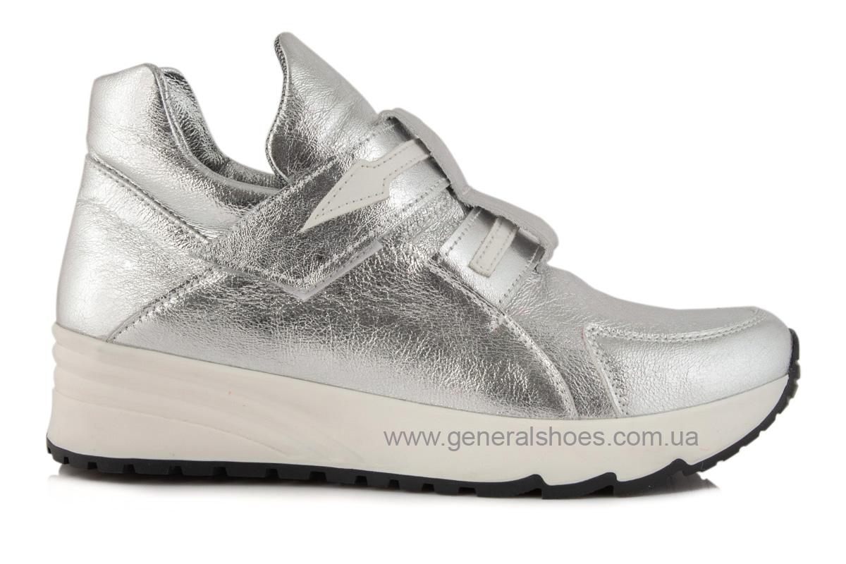 Женские кожаные кроссовки C2 серебро фото 4
