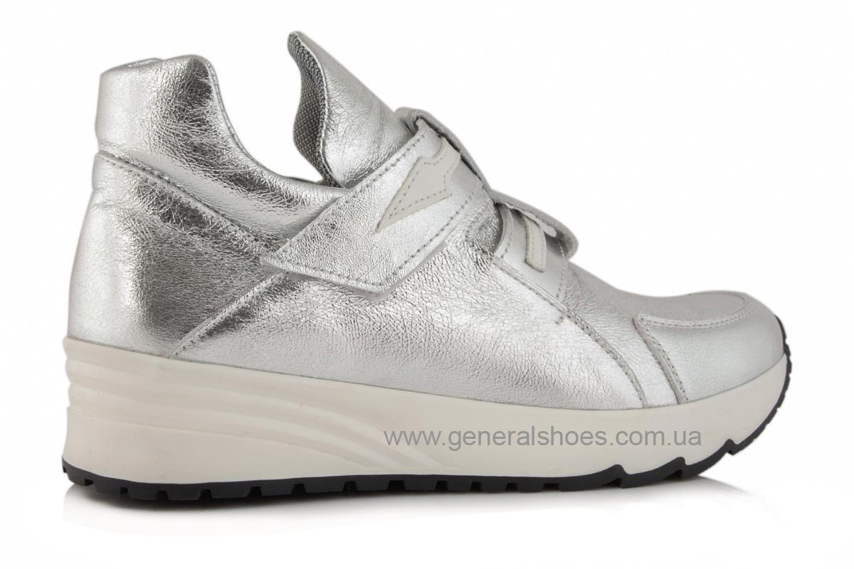 Женские кожаные кроссовки C2 серебро фото 5