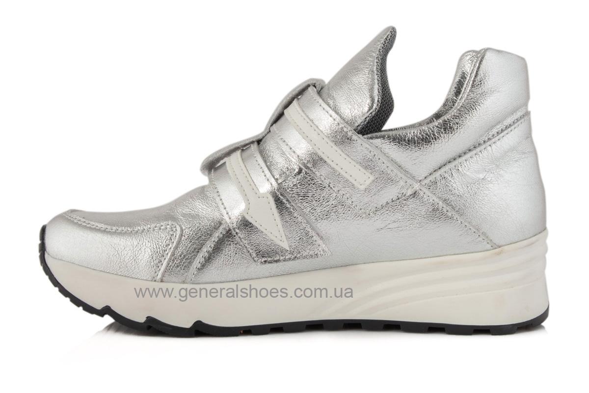 Женские кожаные кроссовки C2 серебро фото 6