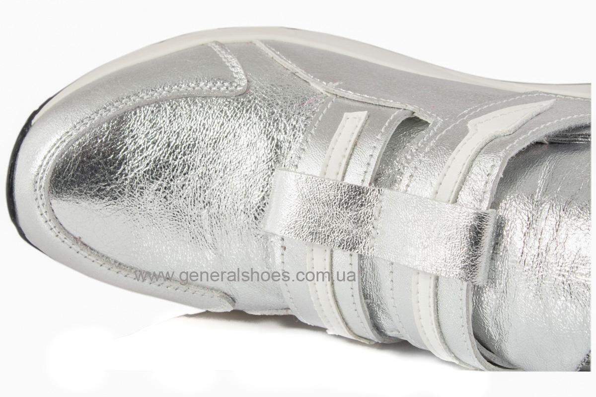 Женские кожаные кроссовки C2 серебро фото 7