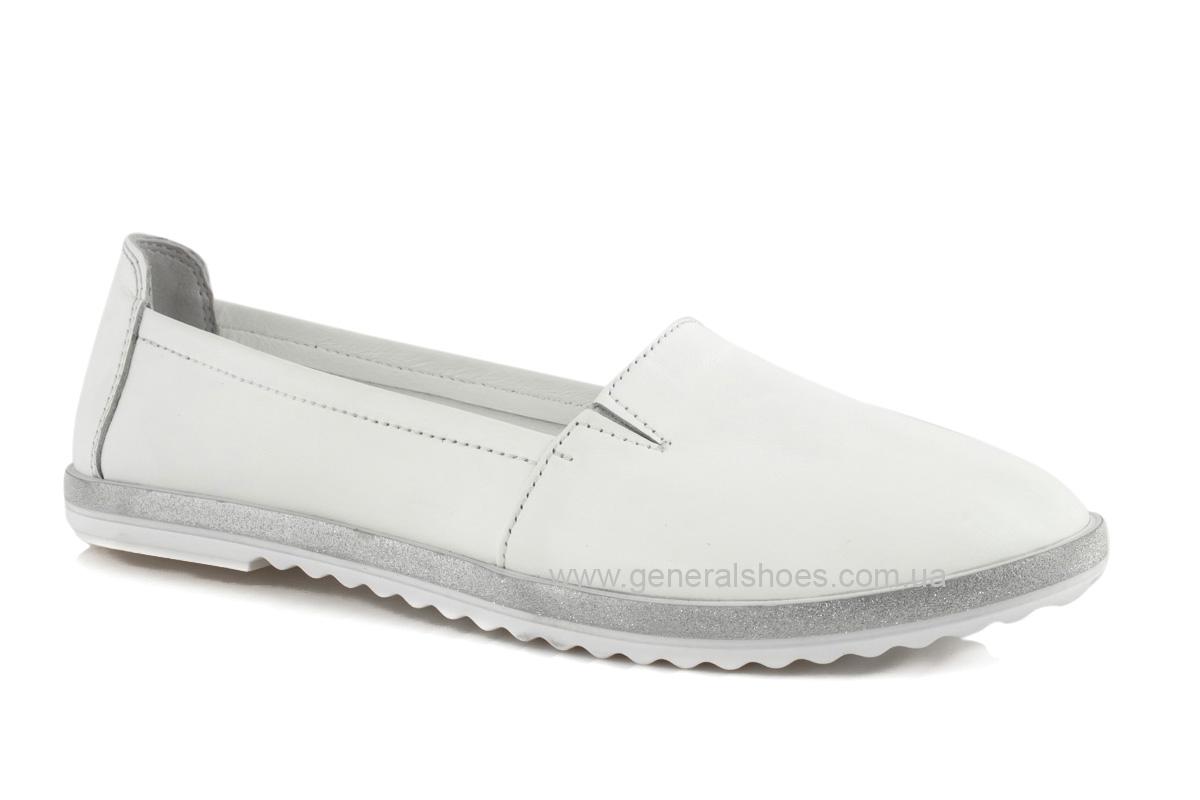 Балетки женские кожаные 105 белые фото 1