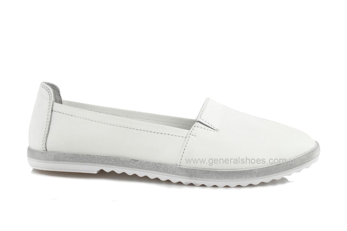 Балетки женские кожаные 105 белые фото 2