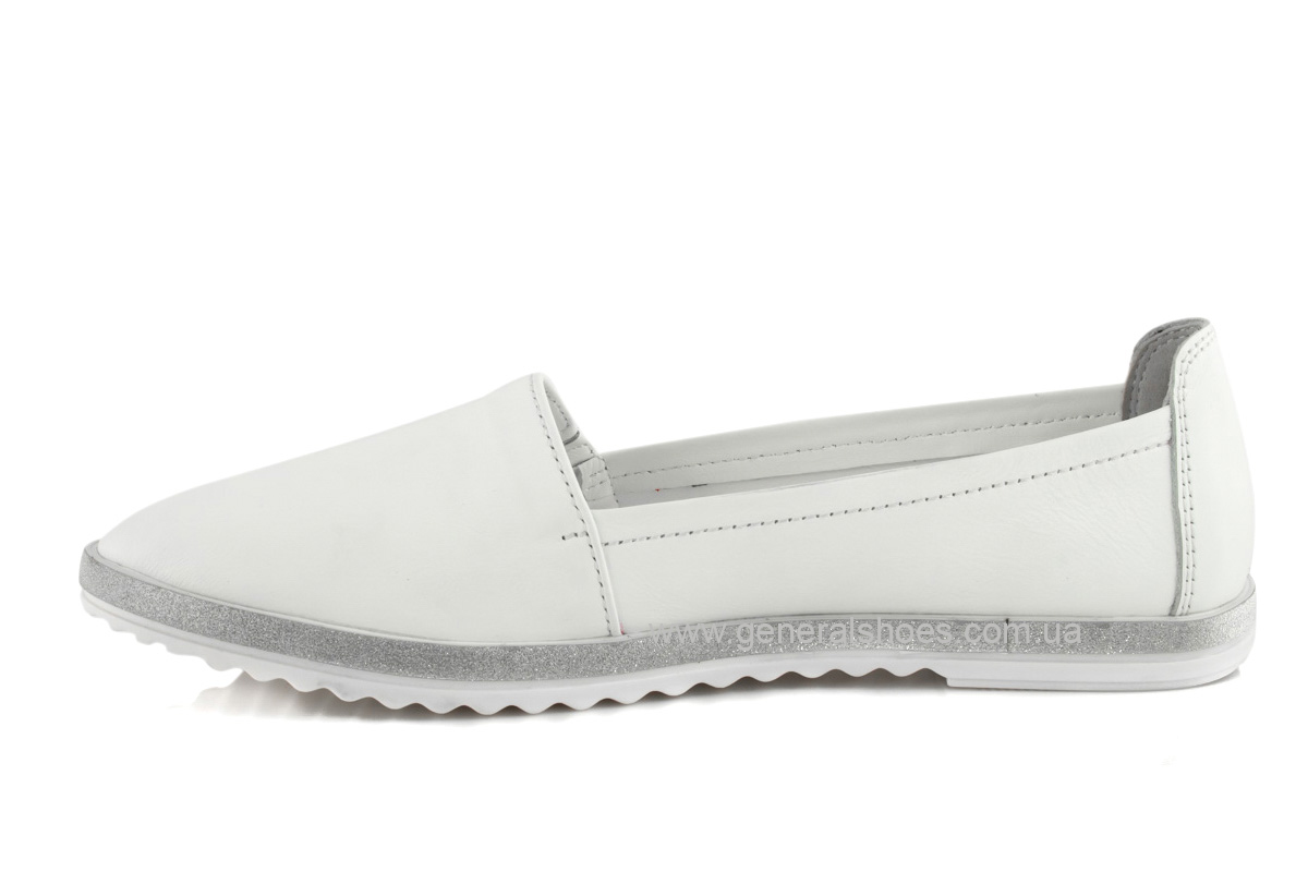 Балетки женские кожаные 105 белые фото 5