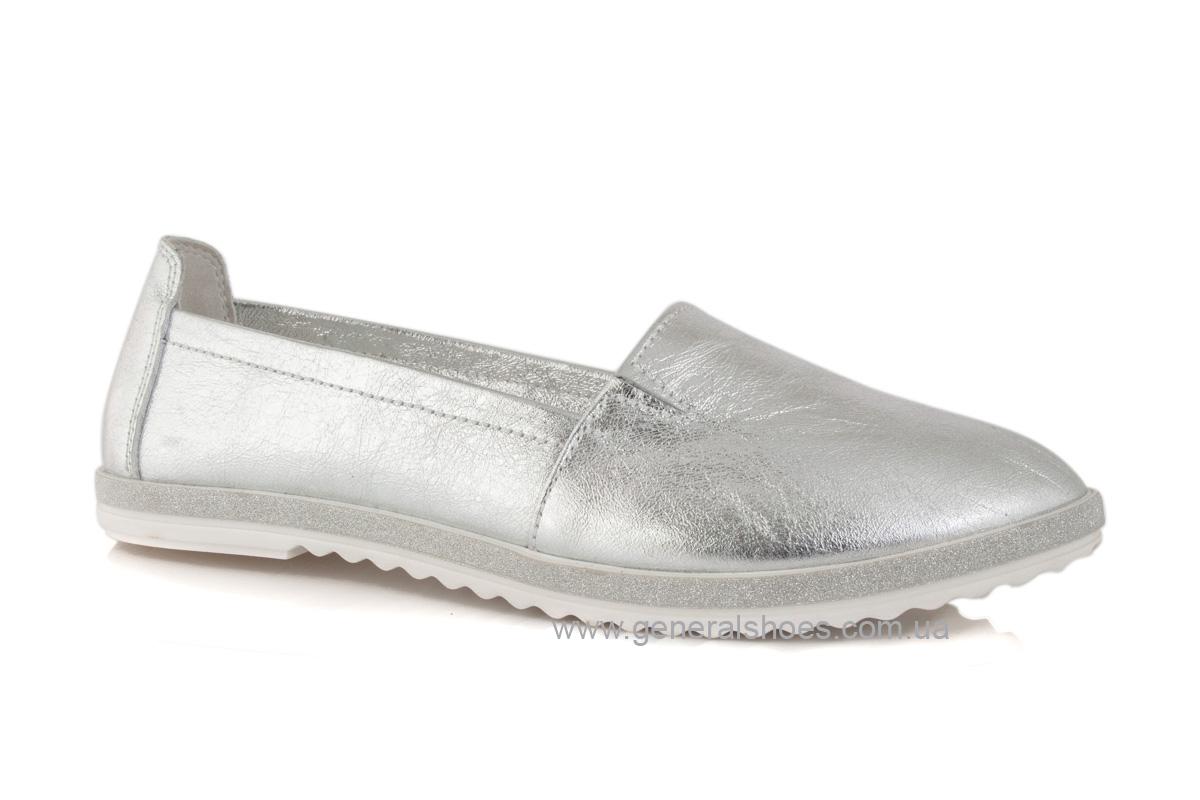 Балетки женские кожаные 105 серебро фото 1