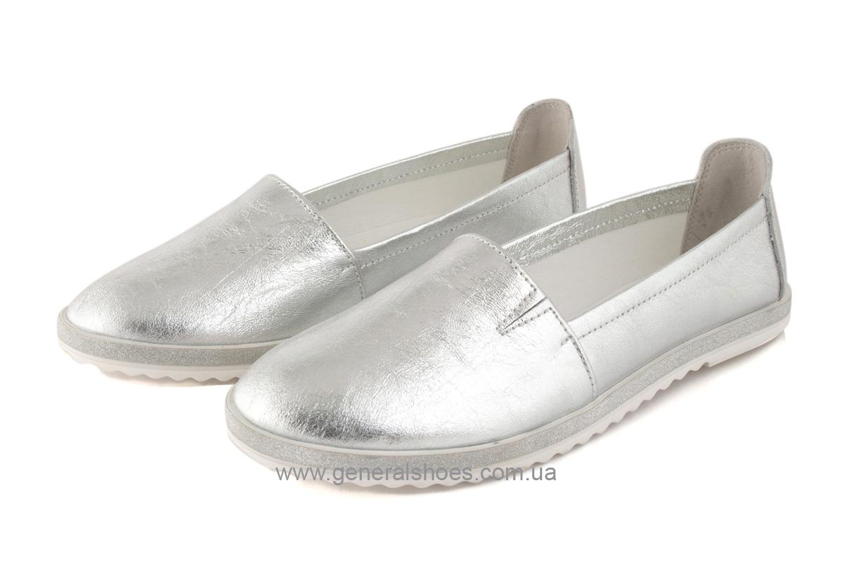 Балетки женские кожаные 105 серебро фото 2
