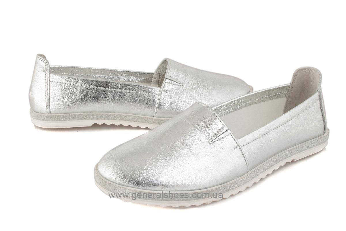 Балетки женские кожаные 105 серебро фото 3