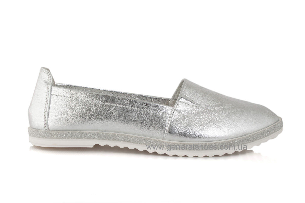 Балетки женские кожаные 105 серебро фото 4