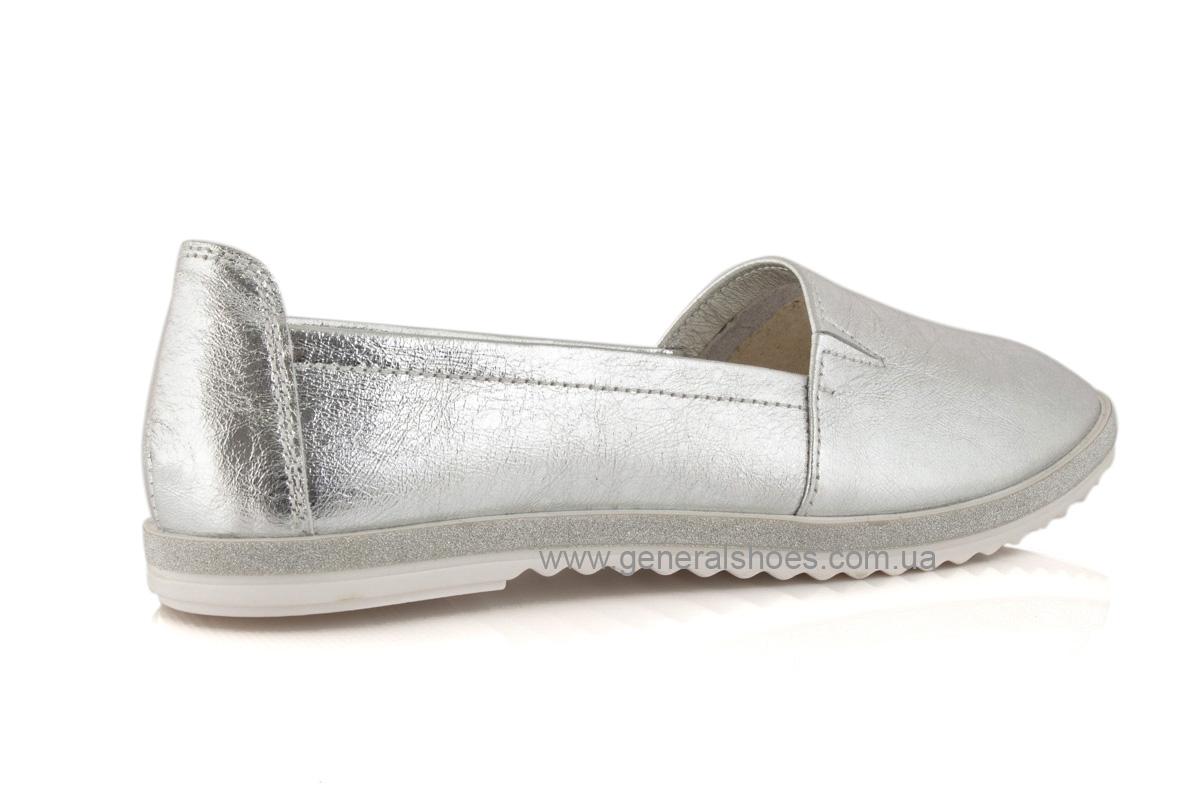Балетки женские кожаные 105 серебро фото 5