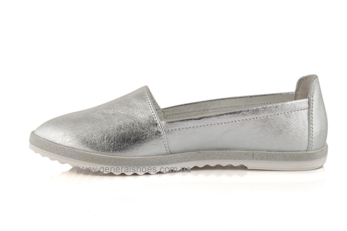 Балетки женские кожаные 105 серебро фото 6