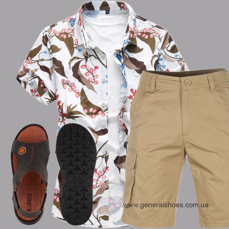 Мужские кожаные сандалии 31 monzo коричневые фото 4