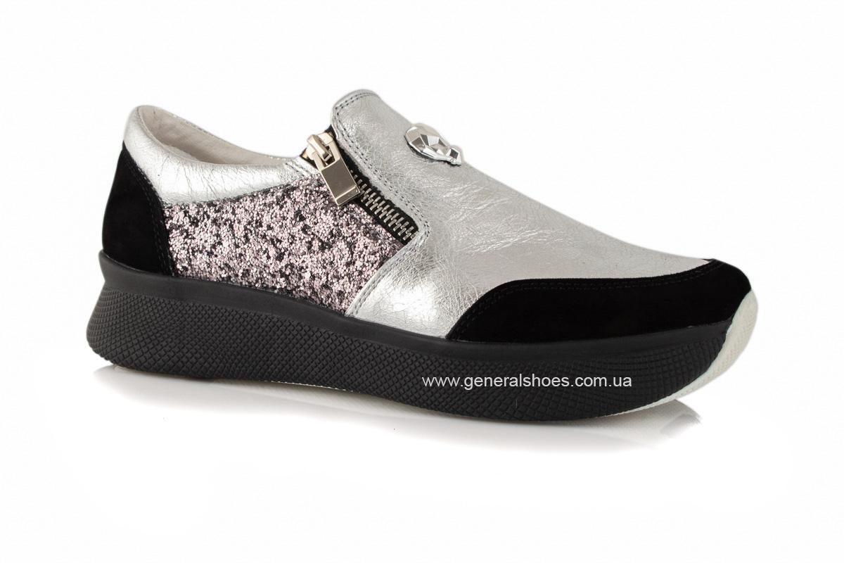 Кроссовки женские кожаные 2717 серебро фото 1