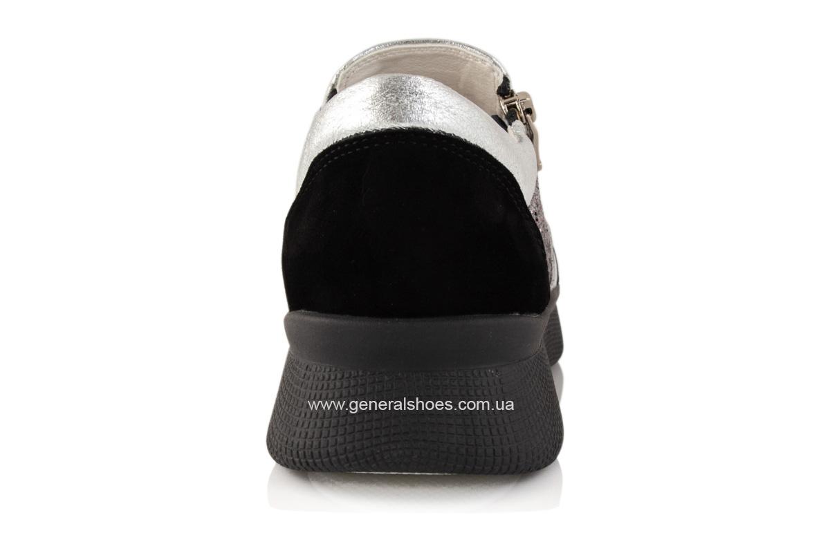Кроссовки женские кожаные 2717 серебро фото 4