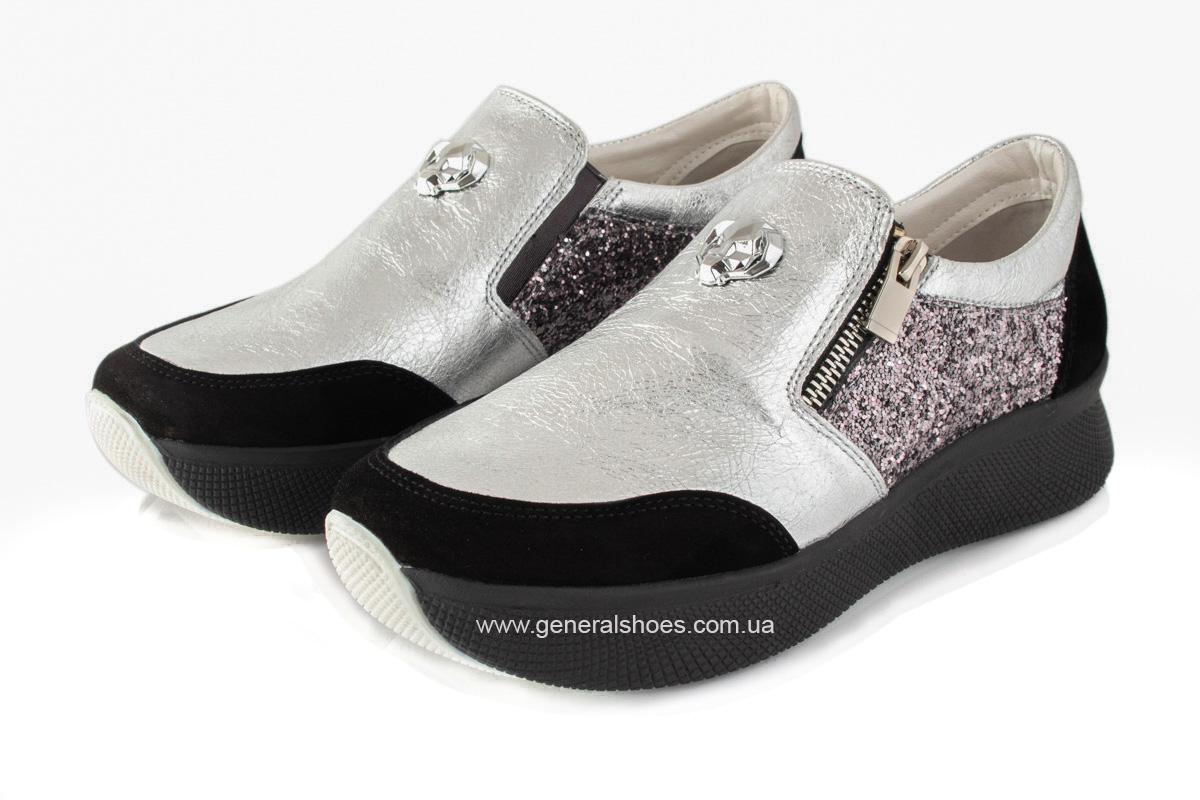 Кроссовки женские кожаные 2717 серебро фото 8