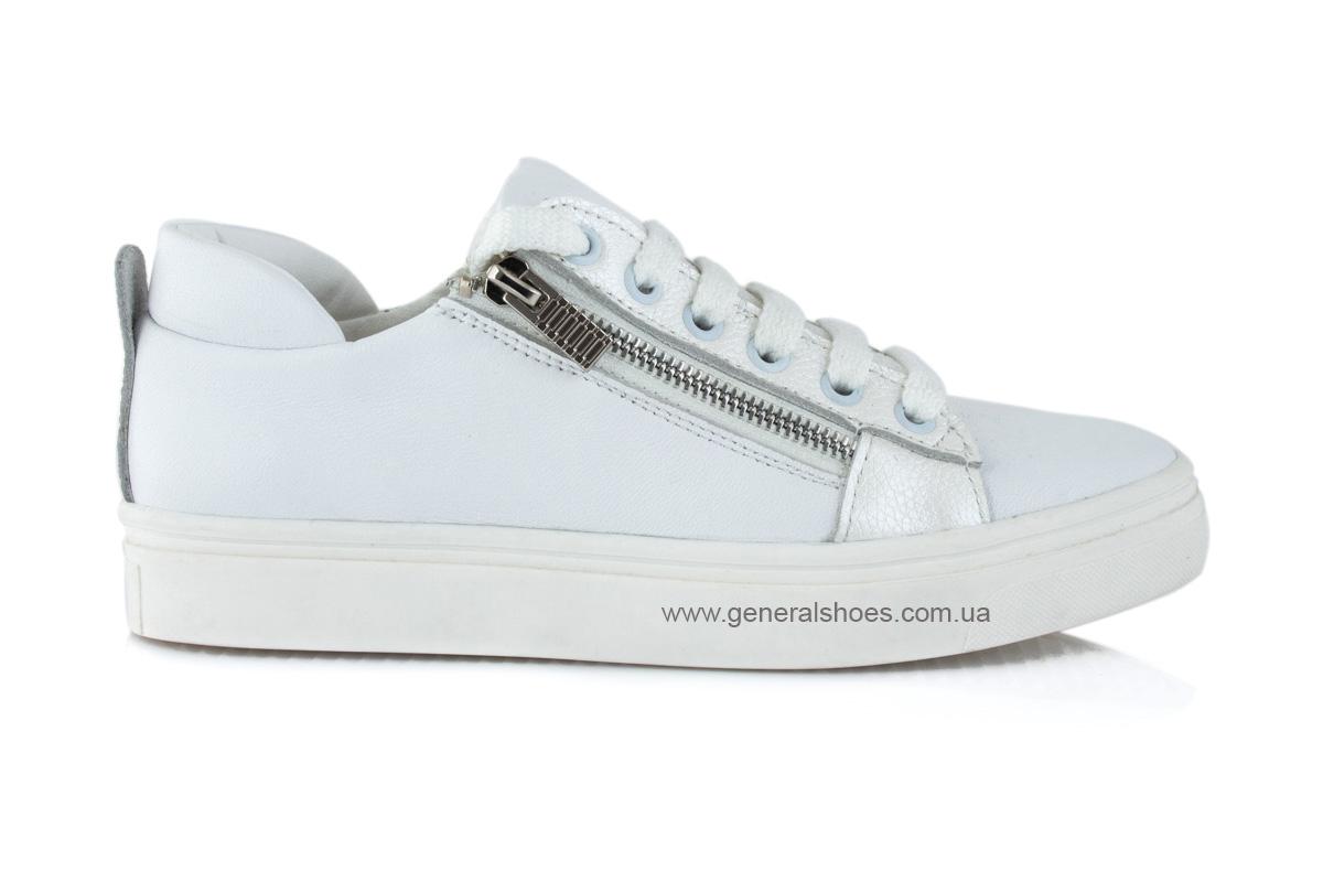 Кроссовки женские кожаные Р 215 белые фото 2