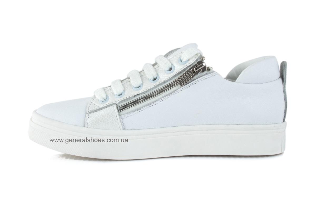 Кроссовки женские кожаные Р 215 белые фото 4