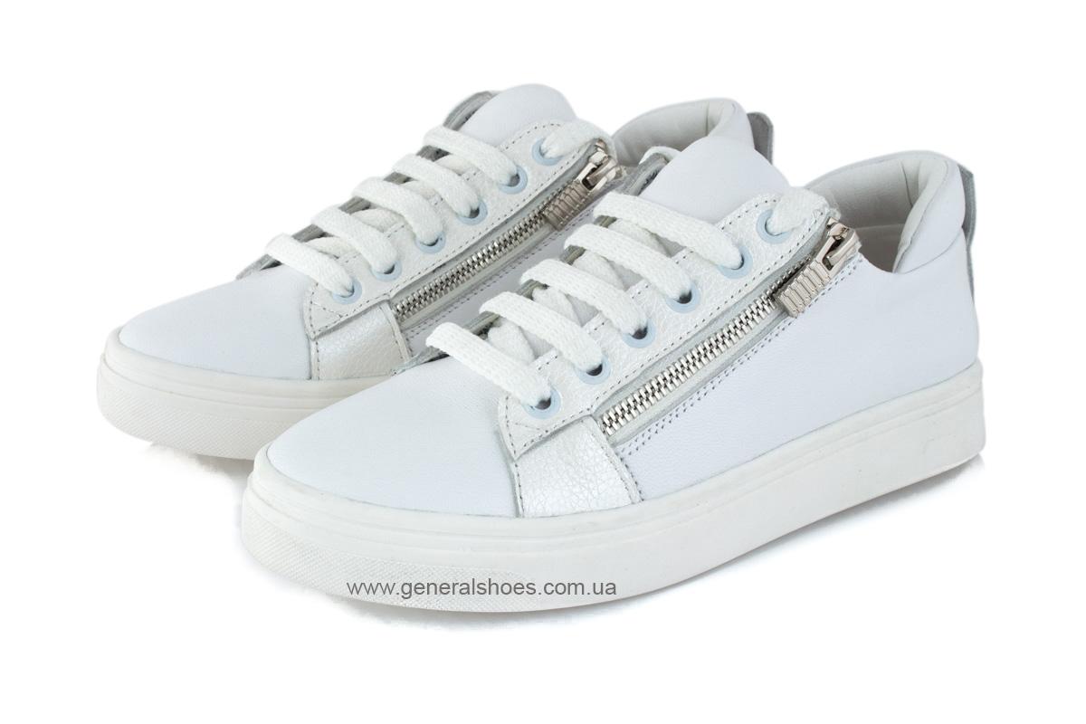 Кроссовки женские кожаные Р 215 белые фото 6