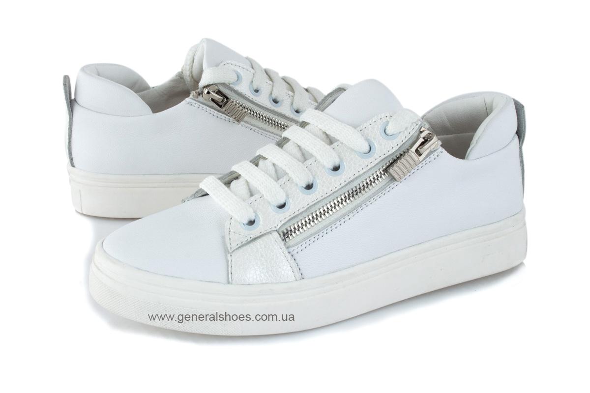 Кроссовки женские кожаные Р 215 белые фото 7