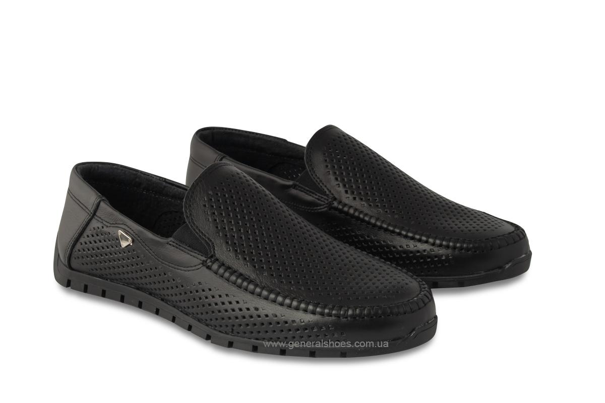Мужские кожаные мокасины 05986 черные фото 1