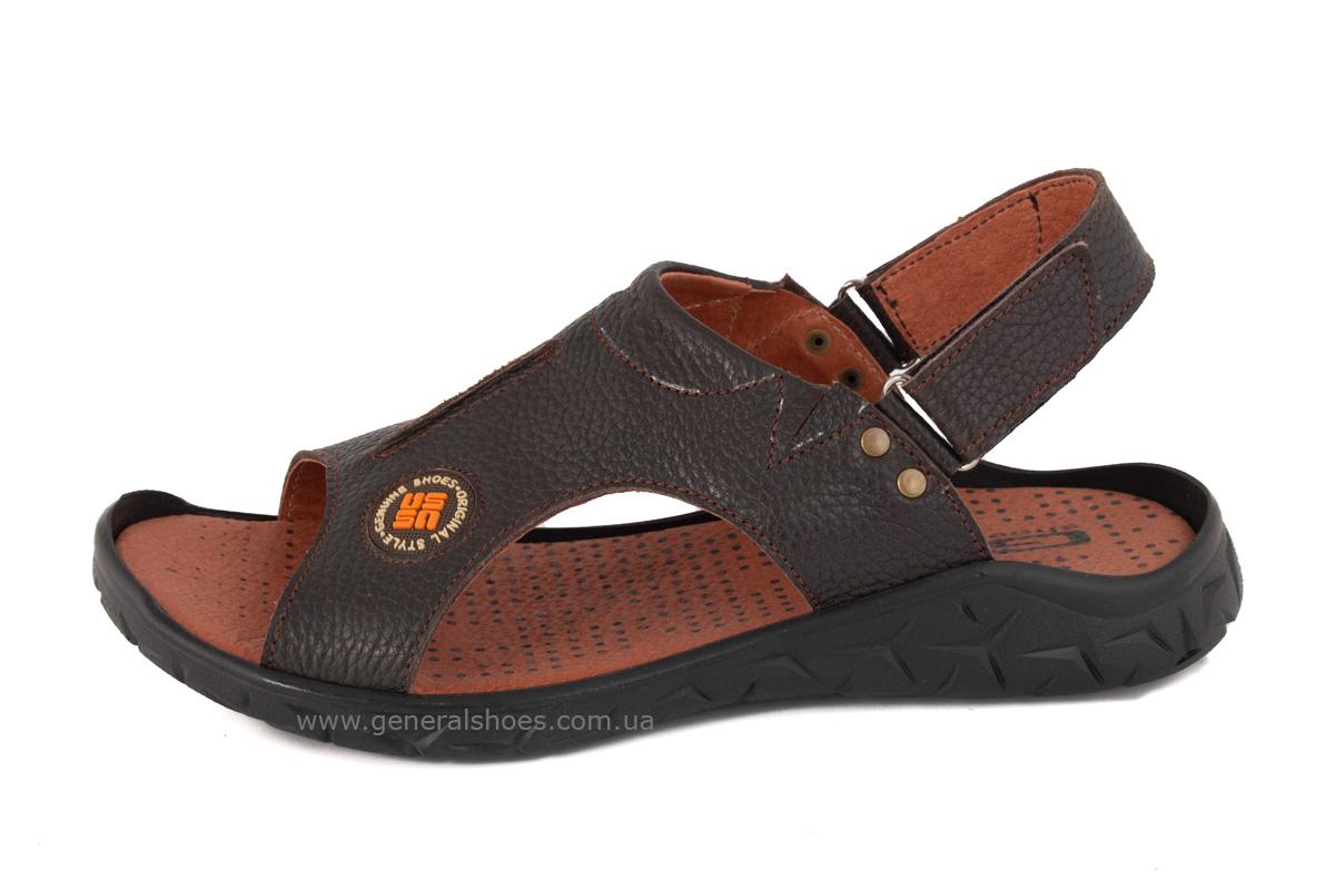 Мужские кожаные сандалии 31 monzo коричневые фото 2