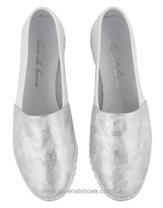 Женские кожаные балетки 65 серебро фото 7