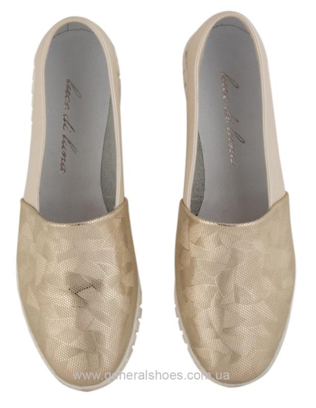 Женские кожаные балетки 65 золото фото 3
