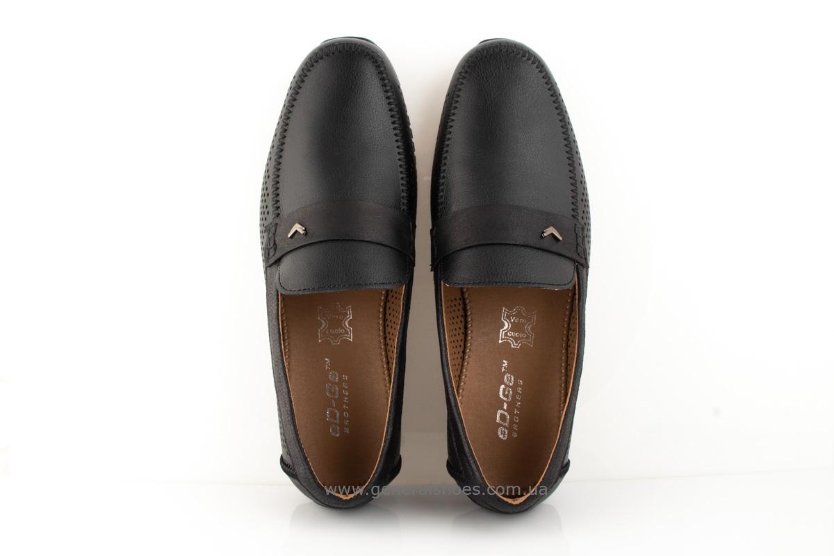 Мужские кожаные мокасины MS 3 черные фото 4
