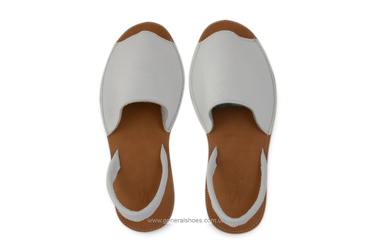 Женские кожаные босоножки 08 белые фото 7