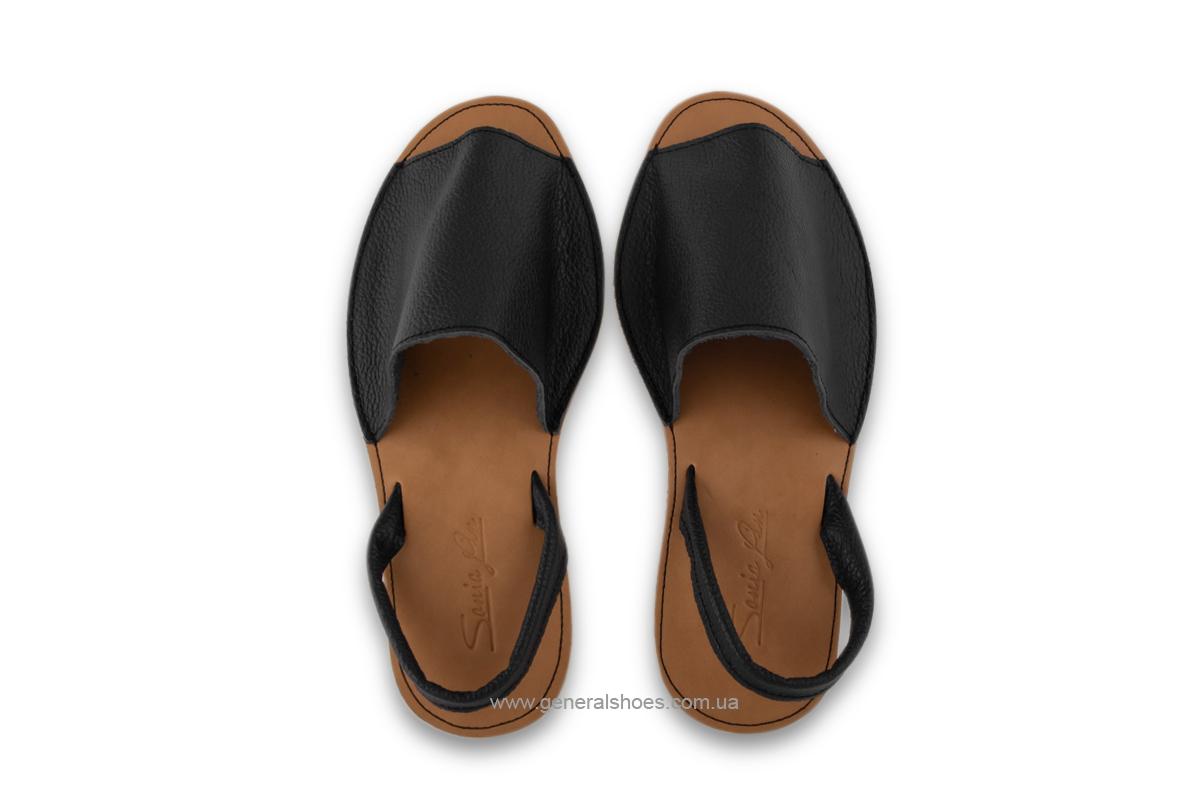 Женские кожаные босоножки 08 черные фото 8