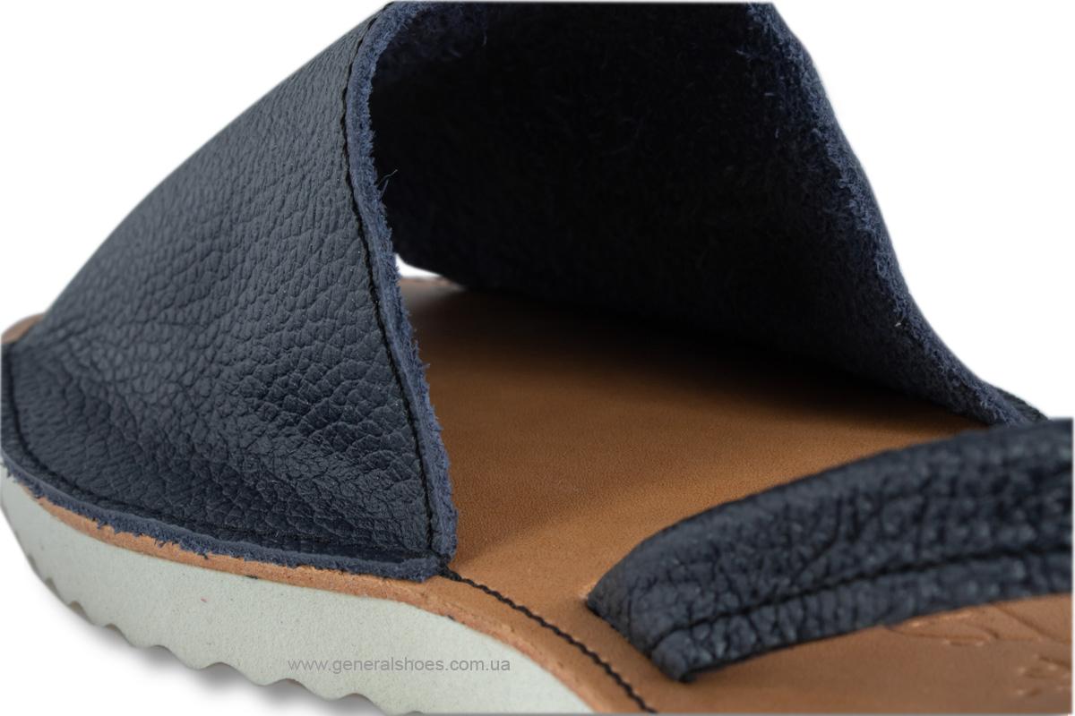 Женские кожаные босоножки 08 синие фото 6