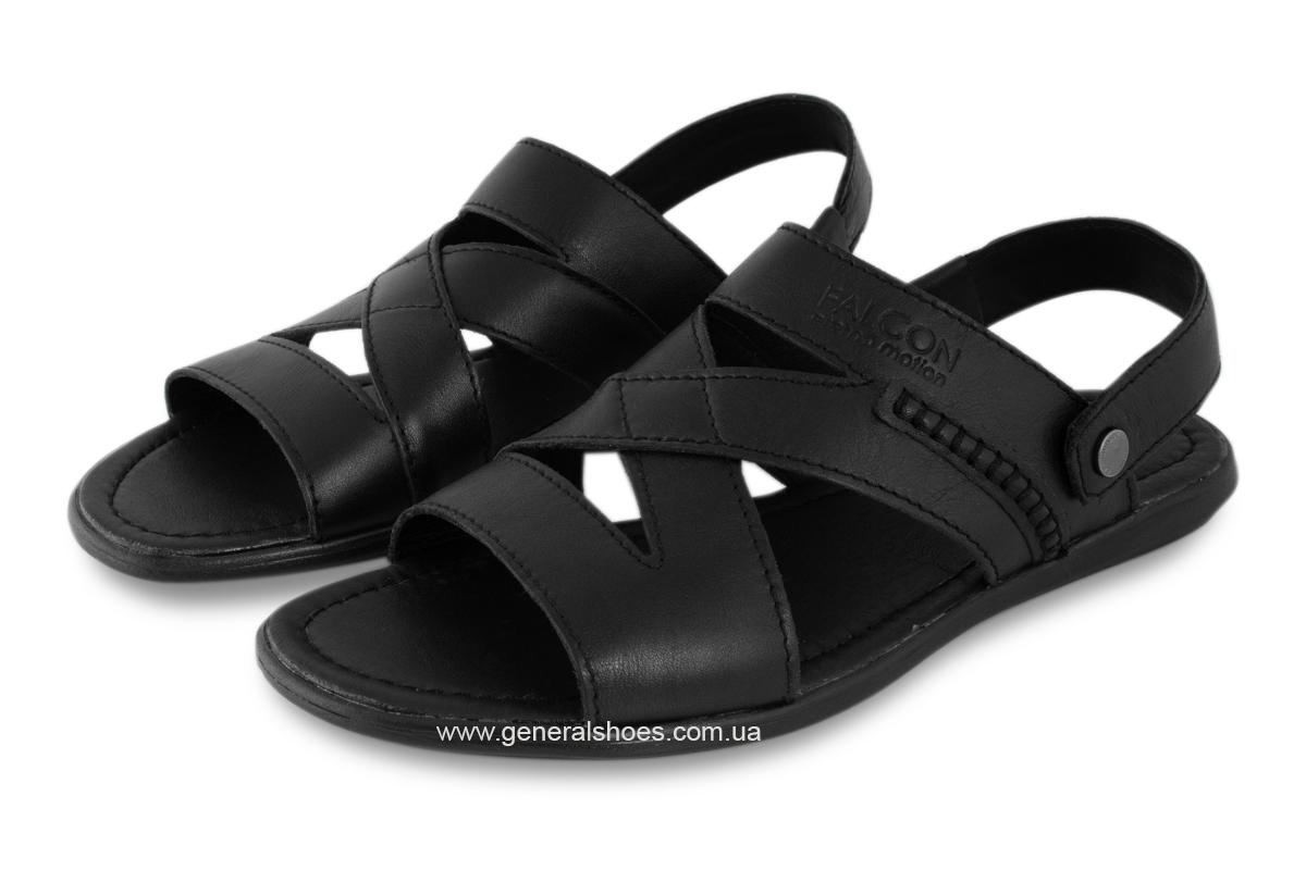 Кожаные мужские сандалии Falcon 2515 черные фото 2