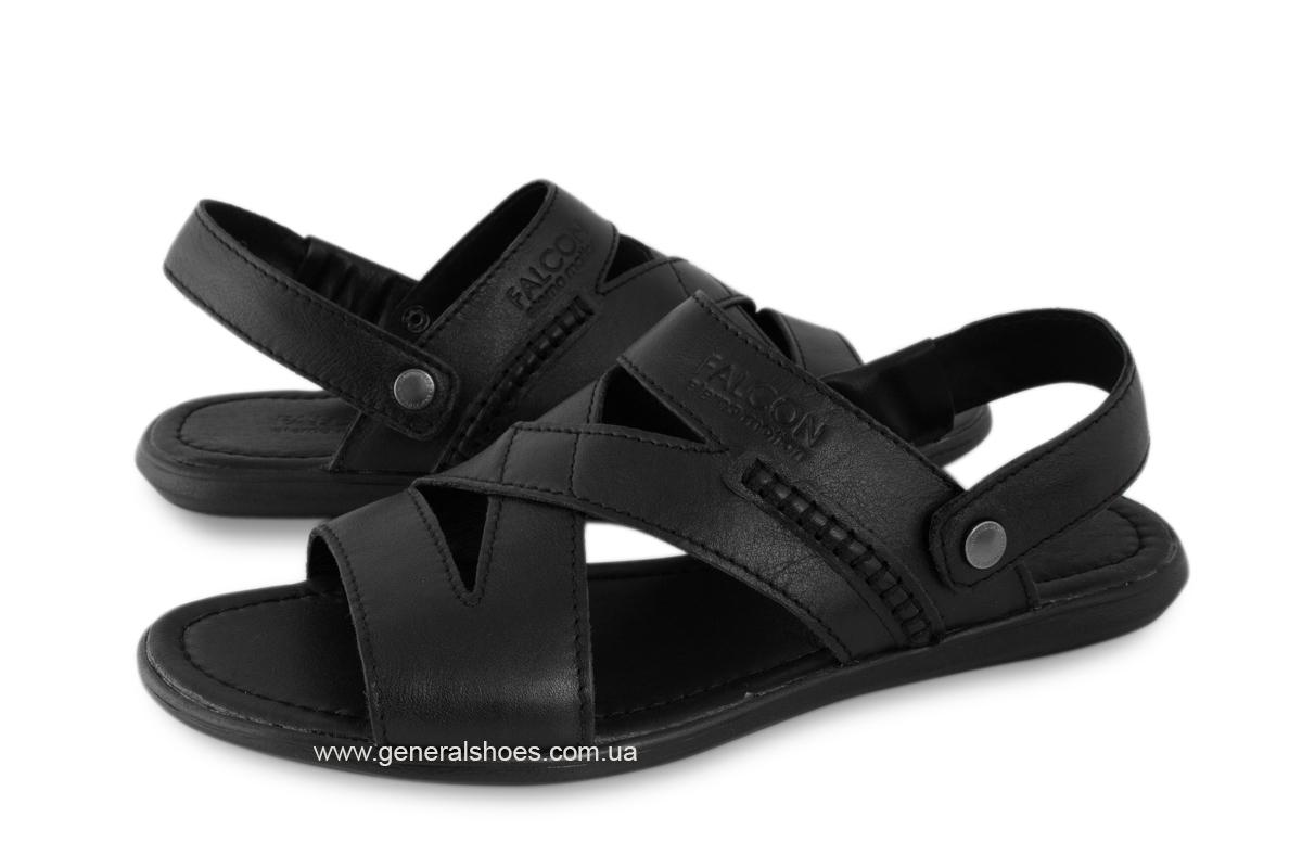 Кожаные мужские сандалии Falcon 2515 черные фото 3