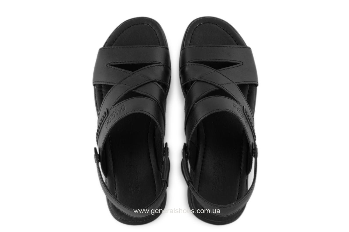 Кожаные мужские сандалии Falcon 2515 черные фото 4