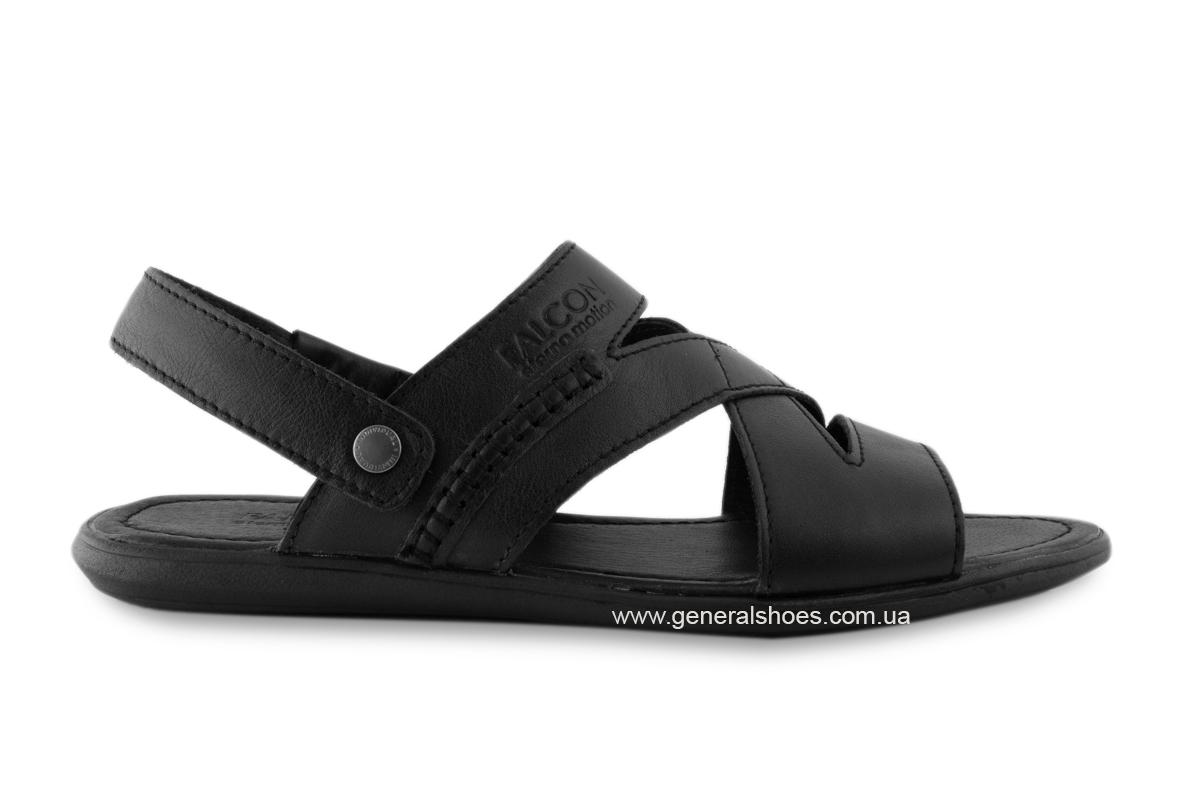 Кожаные мужские сандалии Falcon 2515 черные фото 5