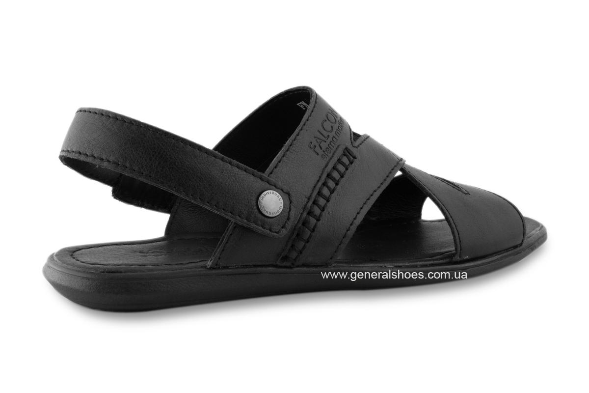 Кожаные мужские сандалии Falcon 2515 черные фото 6