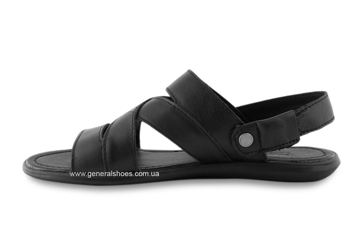 Кожаные мужские сандалии Falcon 2515 черные фото 8