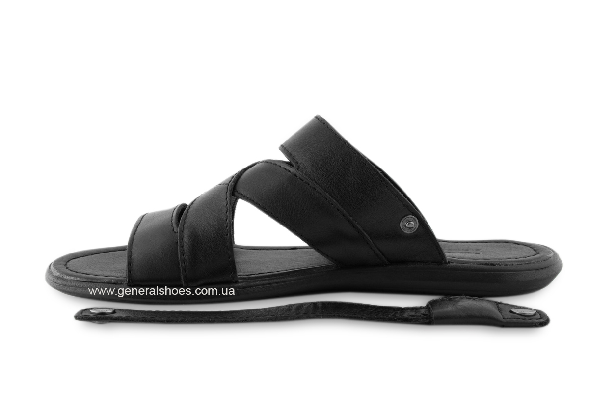 Кожаные мужские сандалии Falcon 2515 черные фото 9