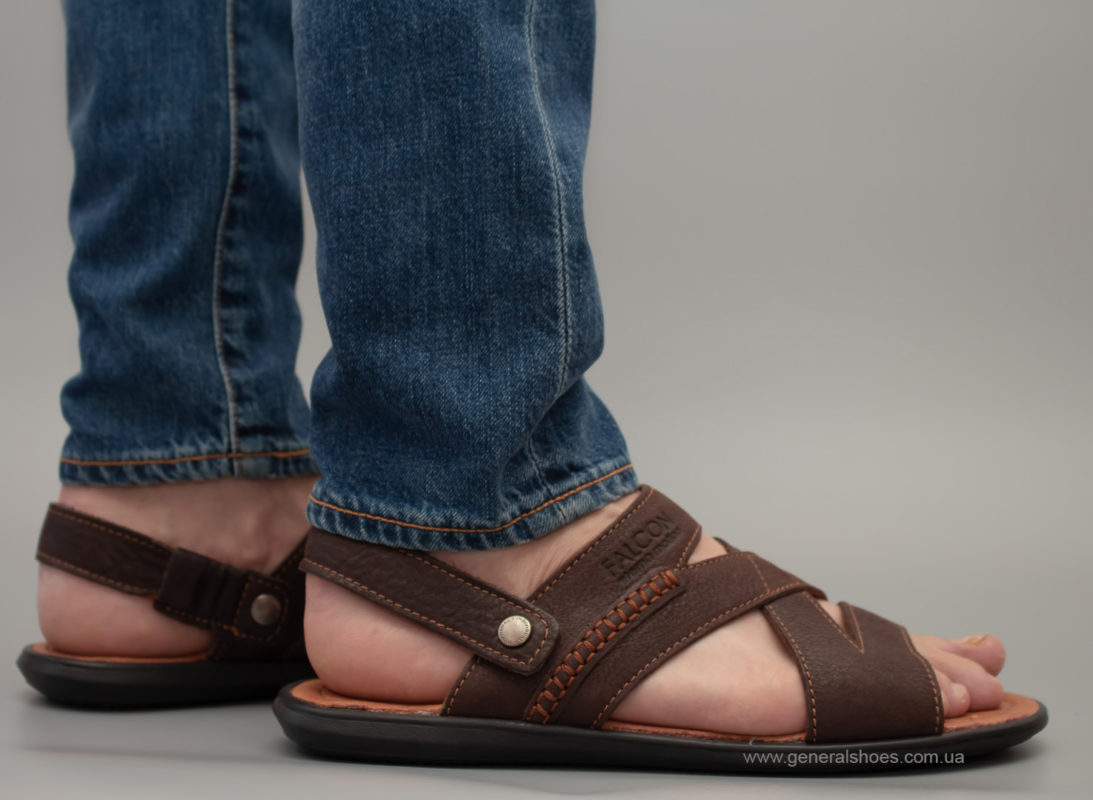 Кожаные мужские сандалии Falcon 2515 коричневые фото 1
