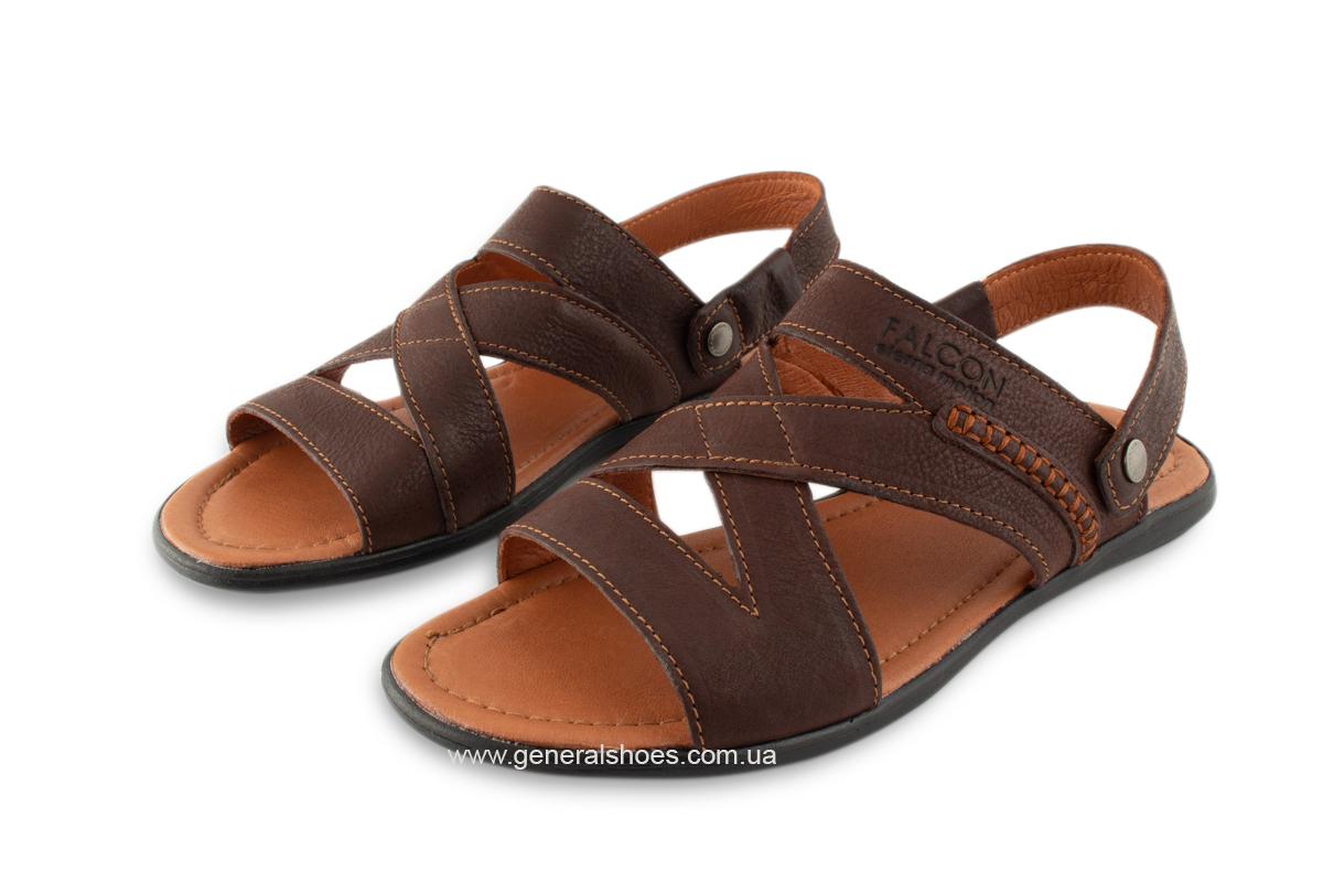 Кожаные мужские сандалии Falcon 2515 коричневые фото 2