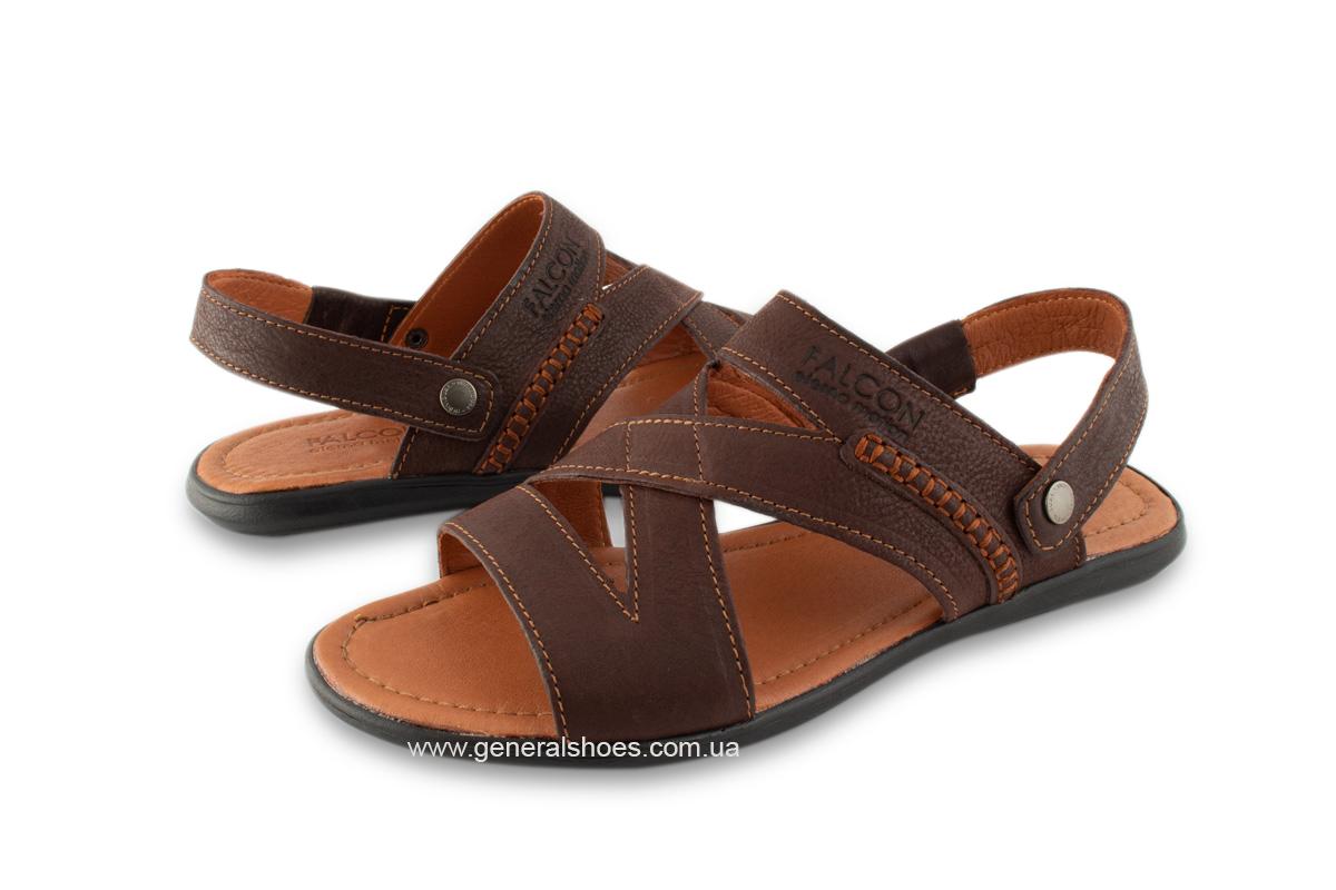 Кожаные мужские сандалии Falcon 2515 коричневые фото 3