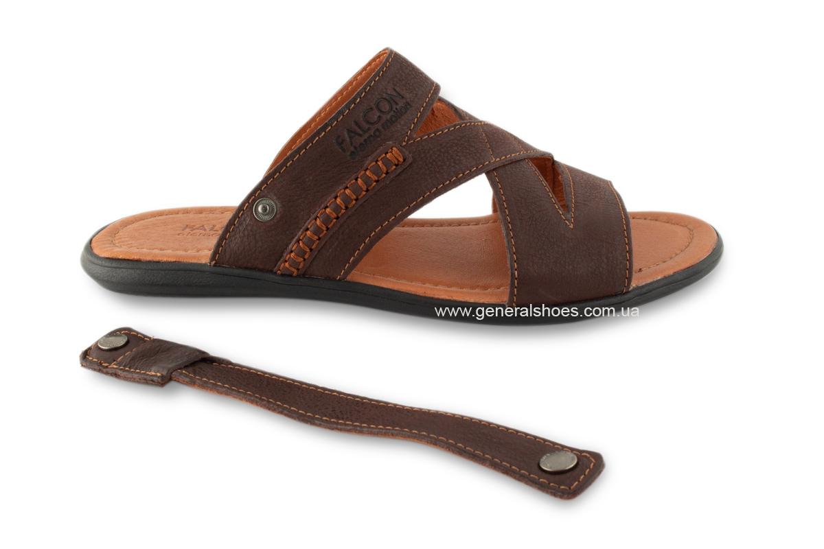 Кожаные мужские сандалии Falcon 2515 коричневые фото 4