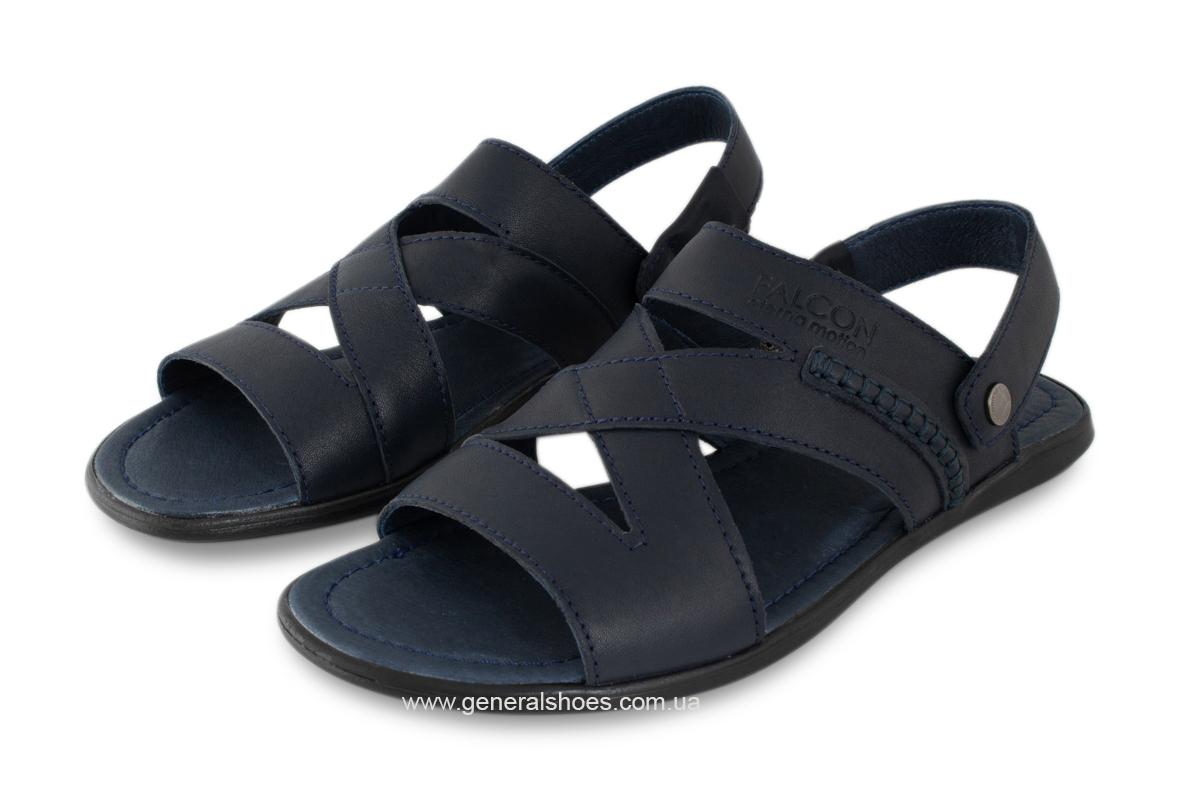 Кожаные мужские сандалии Falcon 2515 синие фото 2