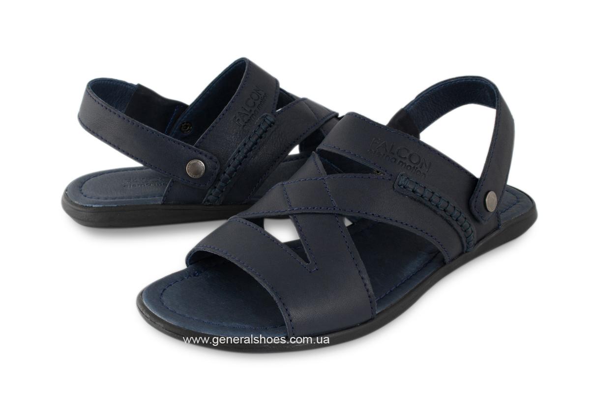 Кожаные мужские сандалии Falcon 2515 синие фото 3