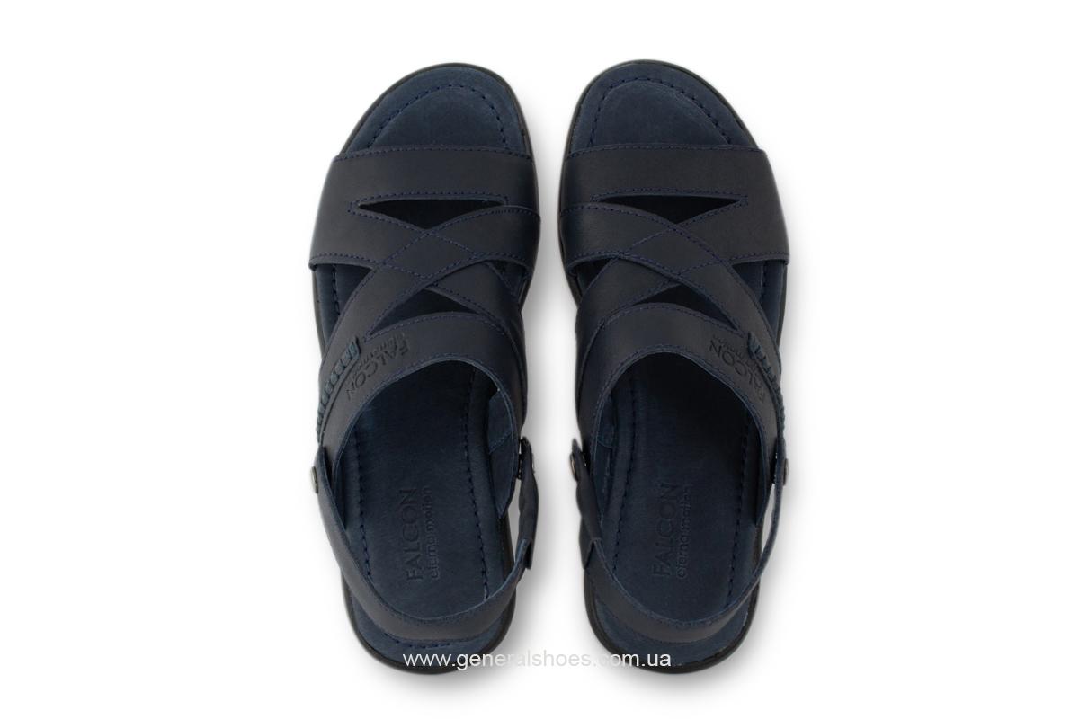 Кожаные мужские сандалии Falcon 2515 синие фото 4