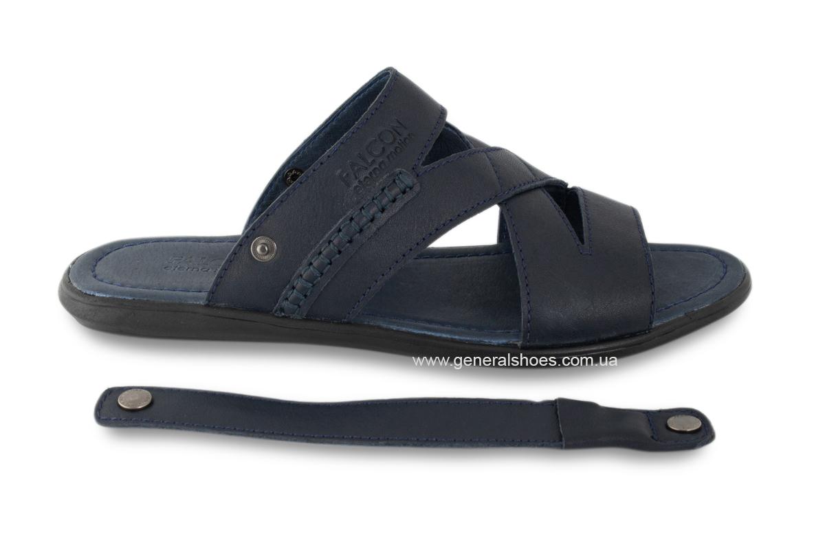 Кожаные мужские сандалии Falcon 2515 синие фото 6